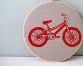 Red Bicycle Hoop Art - Screen printed Nursery Decor Wall Art by Sweetnature Designs - Choose your fabric and ink color