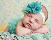 EXCLUSIVE ORIGINAL DESIGN - Gorgeous Hand Sewn Teal and Aqua Lace Double Flowers Headband with Swarovski Crystal Cluster Center Photo Prop