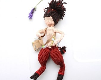 Art Doll of Satyr, greek mythology amigurumi, Whimsical toy for children and grownups, knitted by hand, handmade home decor, messenger bag