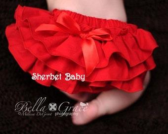 Handmade Red Sassy Pants Ruffle Diaper Cover Bloomer
