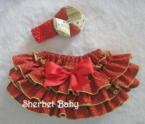 Christmas Red with Green Polka Dots Ruffle Diaper Cover Panty Sassy Pants Headband and Fluffy Fabric Flower Hair Clip