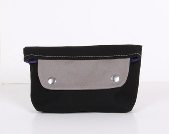 ZEN mini ... clutch , pouch ,Black gray ,blue canvas with purple lining