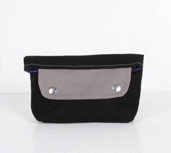 ZEN mini ... clutch , pouch ,Black gray ,blue canvas with purple lining