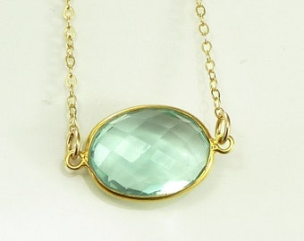 Caribbean Sea Foam Green Quartz  Necklace 14K Gold Filled Solitaire Gemstone  Handmade Minimalistic Fashion Bride Bridal