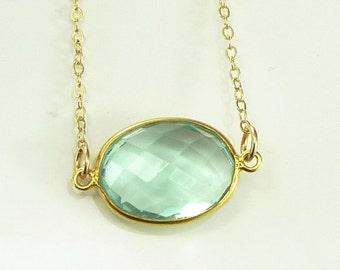 Caribbean Sea Foam Green Quartz  Necklace 14K Gold Filled Solitaire Gemstone  Handmade Minimalistic Fashion Bride Bridal