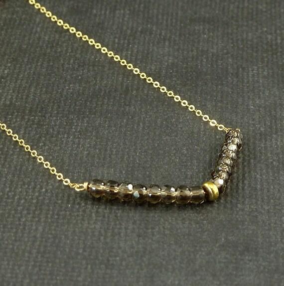Smokey Quartz Gold Chevron Necklace Geometric Gemstone Necklace Science Jewelry Fashion