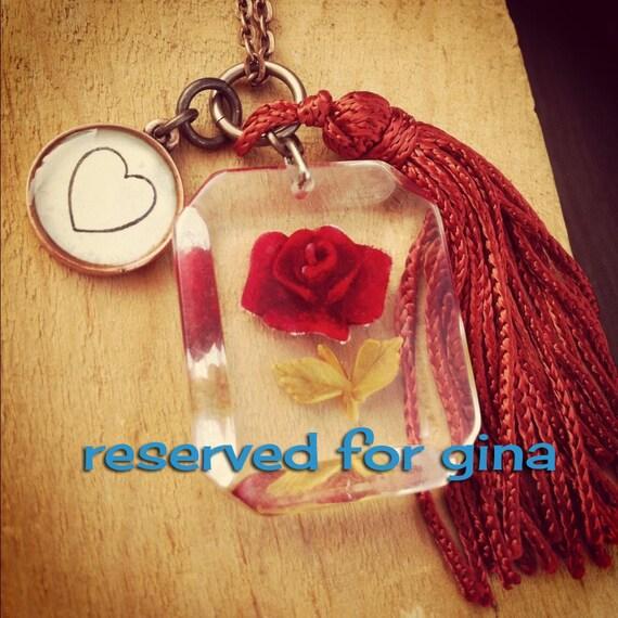 vintage red rose lucite necklace. reserved for gina...