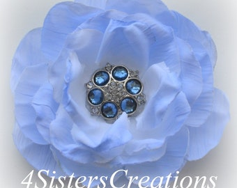 Light Blue Artificial Flower with Custom Navy and Clear Rhinestone Button Center