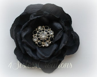 Black Artificial Flower with Custom Black and Clear Acrylic Rhinestone Button Center