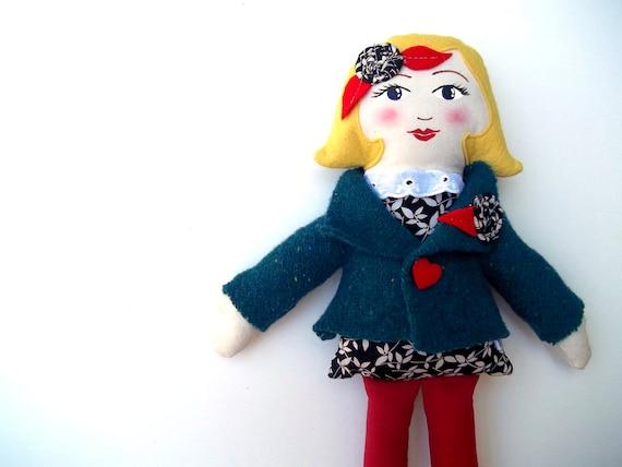 Cloth Doll, Rag Doll, BlondBlack Friday Etsy Cyber Monday Etsy