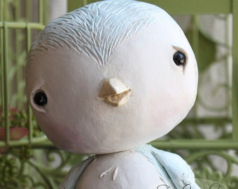 Paper Clay, Sculpture, Blue, Bird, Nestling No.11
