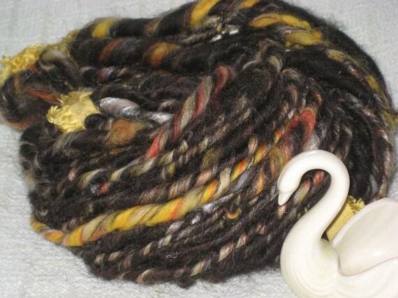 SALE Handspun Art Yarn / BLACK AGATE rare wool / Eco friendly
