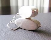 Satin Matte Sterling Silver Earrings - Modern Simple Dangle Earrings - Minimalist Design