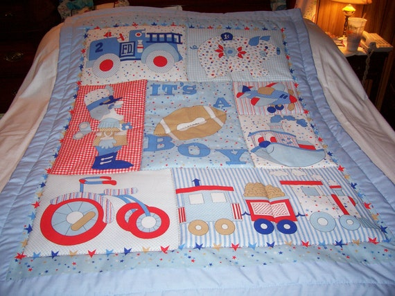Handmade It's A Boy Cotton Baby/Toddler Quilt-NEWLY MADE In 2013