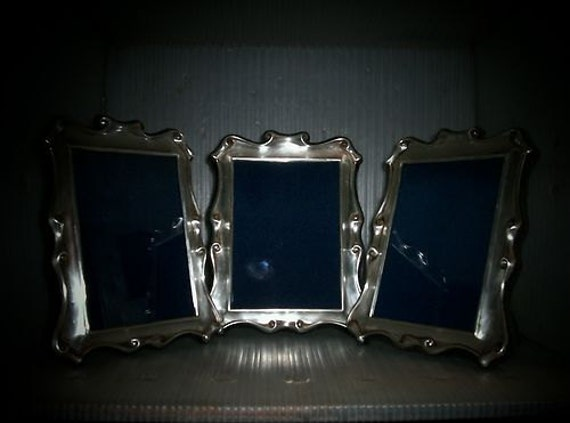 Sterling Silver Picture Frame Set Trio Antique English Photo Frames