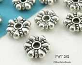 Pewter Beads Large Flower Rondelle Antiqued Silver blueecho (PWT 292) 15 pcs