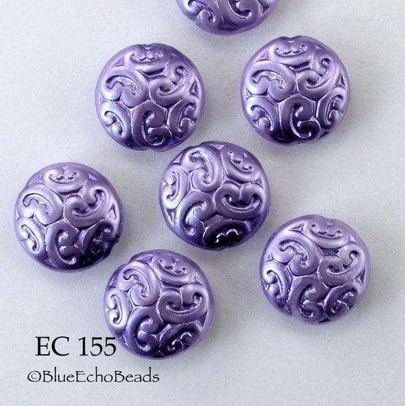 Czech Glass Brocade Coin Beads Opaque Purple Iris (EC 155) 5 pcs