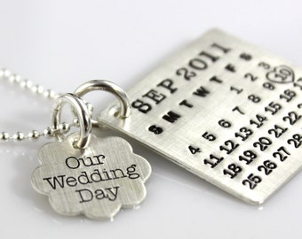 Mark Your Calendar Necklace with Our Wedding Day Flower Charm - personalized sterling silver necklace
