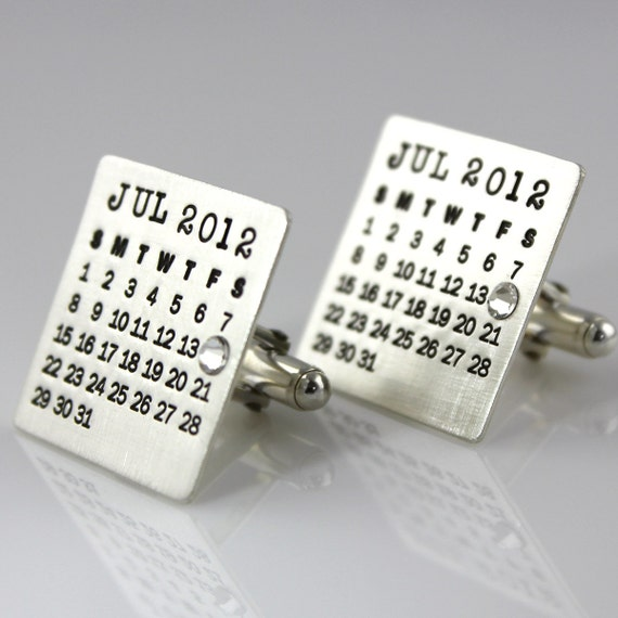 Cuff Links - Mark Your Calendar Cuff Links - personalized solid sterling silver with crystal or pearl