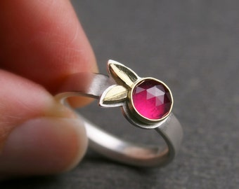 Rose cut ruby with sterling silver and 18k yellow gold botanical ring