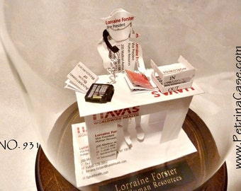Office Man or Woman -Business Card Sculpture with IN basket and phone - Any Theme, Hobby, Sport or Profession Man 930M, Woman 931F