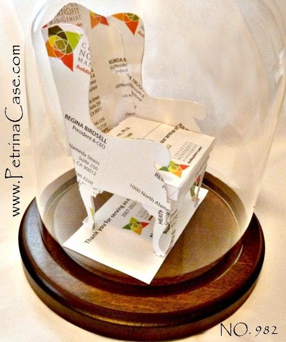 Wingback Chair Business Card Sculpture -Queen Anne legs -Design 982