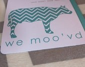We Moo'vd Chevron Cow Announcement Cards
