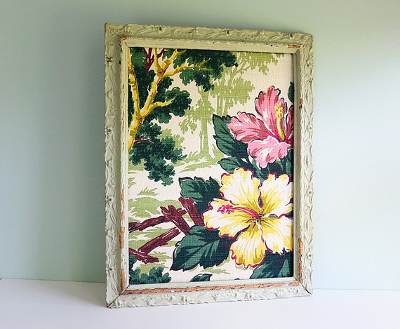 Bulletin Board Made from 1940s Hibiscus Blossom Bark Cloth and a Vintage Green Carved Frame