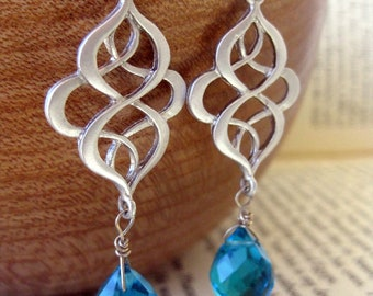 London Rain . Earrings . Faceted Blue Glass Briolettes on Swirly Silver Filigrees