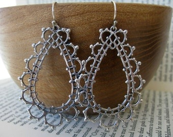 Tears of Lace Earrings . Lacy Teardrop Filigrees with Sterling Silver