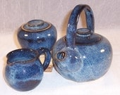 Ceramic Teapot - Creamer - Sugar Bowl - Denim Blue - Tea Set - Handmade Tea Set - Wheel Thrown Stoneware Tpot - Pottery Tea Pot