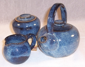 Ceramic Teapot - Creamer - Sugar Bowl - Denim Blue - Pottery Tea Set - Handmade Tea Set - Wheel Thrown Stoneware Teapot Set