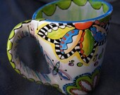 Hand Painted Mugs, Set of two, Boho hippy with Flowers, Perfect Handle Coffee Cups, bright rainbow colors, dr Seuss,