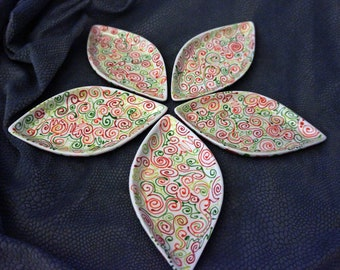 Christmas Colored Poinsettia Painted Petal Shaped Decorative Snack , hors devours , serving dishes,