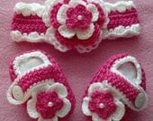 Crochet Baby Girl Handmade,Headband, Booties,  photo prop, infant, kids 10019 MADE TO ORDER