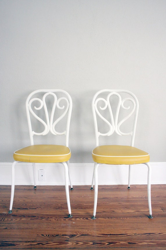Ice Cream Parlor Chairs // Alice in Wonderland Tea Party Chairs // Vintage White and Yellow Chair Set