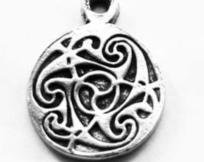 10 x Small Triskelion Triskel celtic spiral pendant 1 bail Australian Pewter