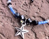 "Nautical Star Anklet 8"" Swarovski cosmo jet crystals and czech glass beads"