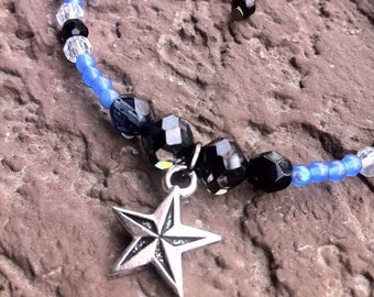 """Nautical Star Anklet 8"""" Swarovski cosmo jet crystals and czech glass beads"""
