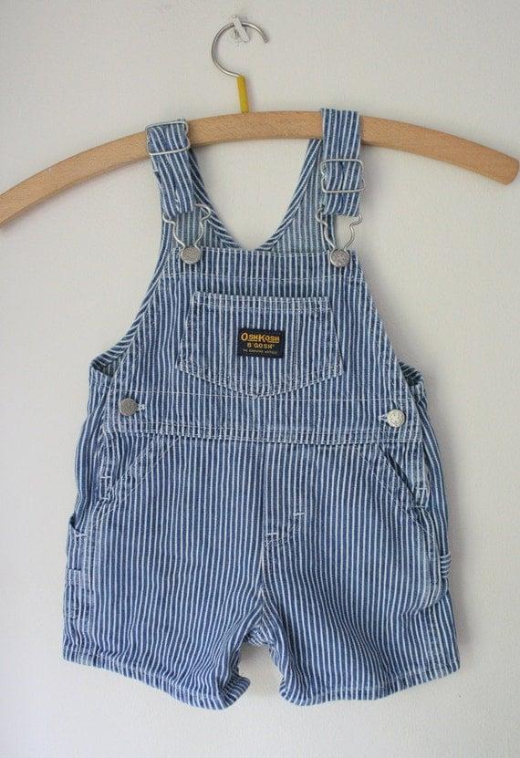 Vintage Striped OshKosh Shortalls - size 6/9 months