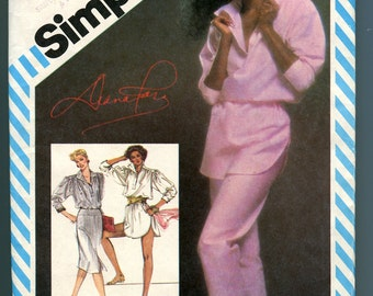 Simplicity 5875 Diana Ross Designs Pants, Slim Skirt, Loose Fitting Top or Tunic Vintage 80s Sewing Pattern UNCUT Misses Size 12