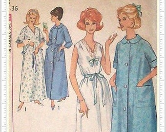 Simplicity 5001 Nightgown & Robe Sewing Pattern Vintage 60s Womens Size 14 - 16