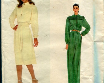 Vogue Paris Original 2352 Nina Ricci Dress in 2 Lengths & Belt Vintage 1970s Sewing Pattern Misses Size 12 UNCUT