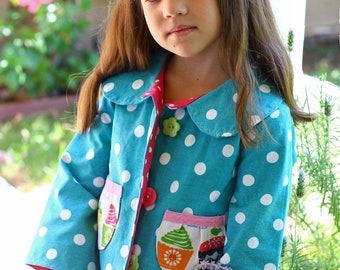 Peace Love and Cupcakes Dottie GIRLS Cropped JACKET Sizes 1-6