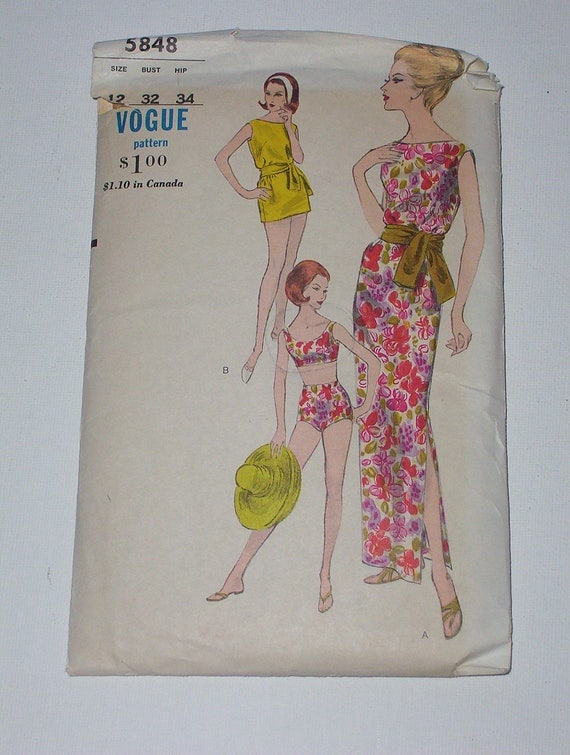 Vintage 60s Bathing Suit Dress and Tunic Pattern Vogue 5848 Size 12 Bust 32