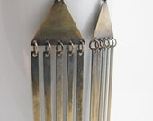 Exotic Rustic Antique Brass Triangular Extra Long Tassle Earrings
