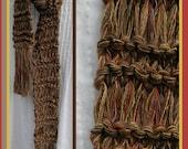 Men's scarf, long brown knit, southwestern color flecks, tan clay multicolor cotton blend boys man's male rustic warm winter fashion i850