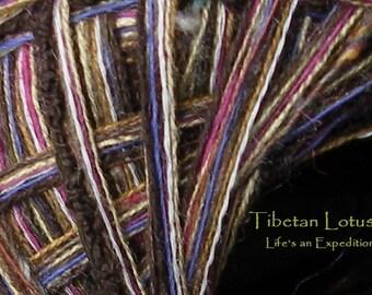 Worsted Yarn, wool cotton brown pink purple gold art yarn, 100 yards Tibetan Lotus  yarn, by dj runnels Life's an Expedition
