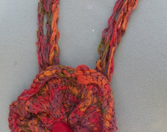 Crochet necklace scarf, women's crochet flower fashion, silk cotton red pink purple green i453 Life's an Expedition