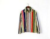 Vintage 1960s Beachwear / Beach Coverup / Men's Striped Jacket / Surfer Jacket / M Medium